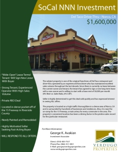 NNN Del Taco in Norco, CA - Now In Escrow